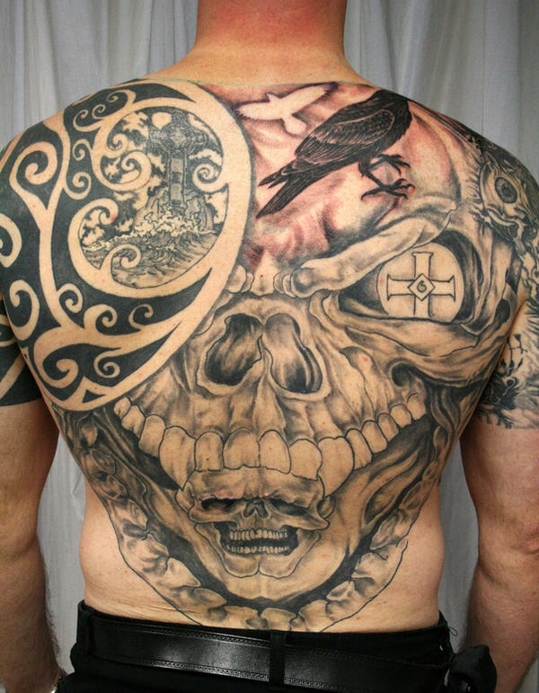 Skull Celtic Backpiece TaT by 2Face-Tattoo