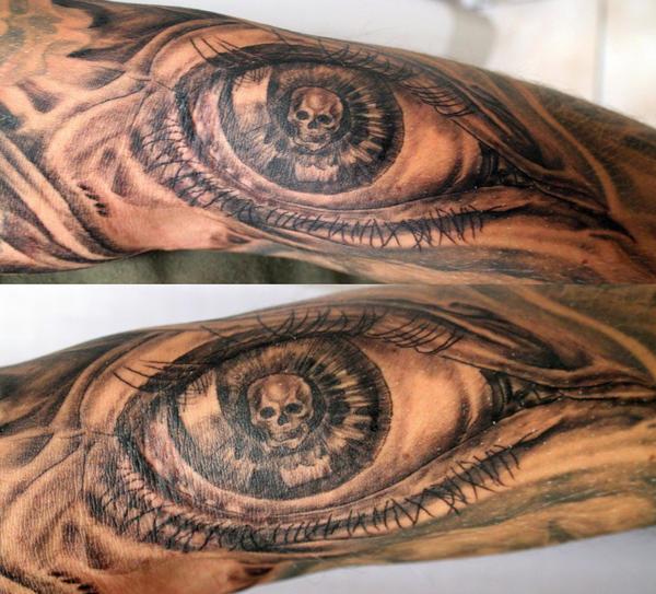Big Eye Skull look Tattoo