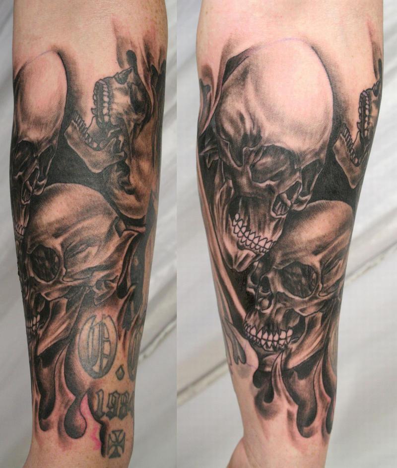 Armsleeve Skull Skulls Tattoo By 2Face-Tattoo On DeviantArt