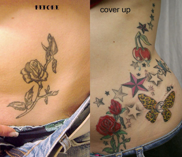 Rose Color Cover up Tattoo