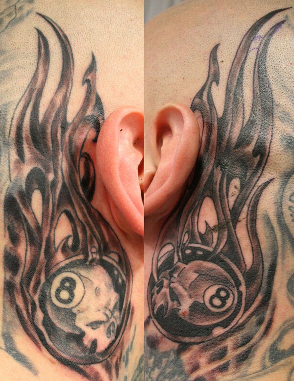 8 ball tattoo behind the ear by 2face tattoo on deviantart. Black Bedroom Furniture Sets. Home Design Ideas