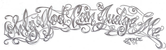 Chicano lettering God Design by 2Face-Tattoo