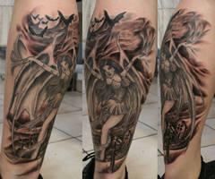 Fallen Angel Vampire Cemetery by 2Face-Tattoo