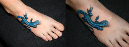 Blue gecko Tattoo by 2Face-Tattoo