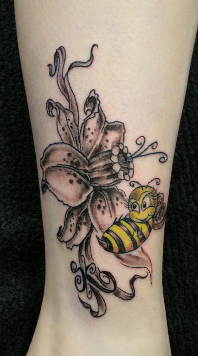 Flower Bee Tattoo - flower tattoo