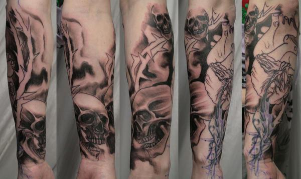 1 Session Skull Heart Sleeve - sleeve tattoo