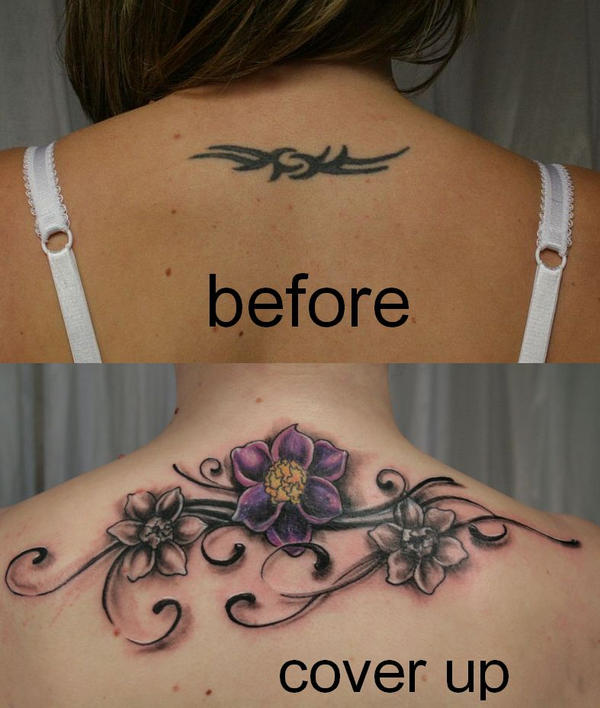 Tribal Cover up Tattoo Flowers