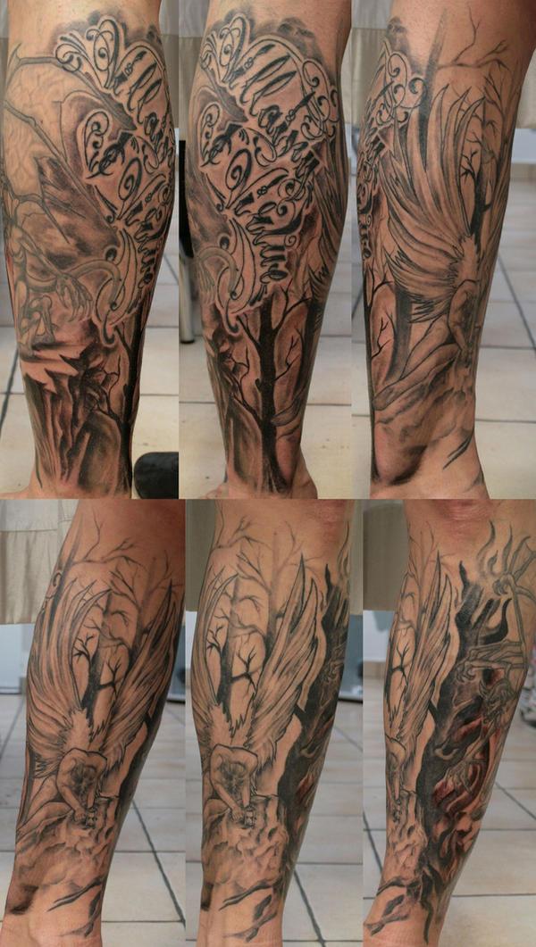 Leg sleeve Fallen Angel TaT by 2Face-Tattoo on DeviantArt