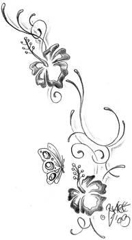 Climb hibiscus Tattoo design