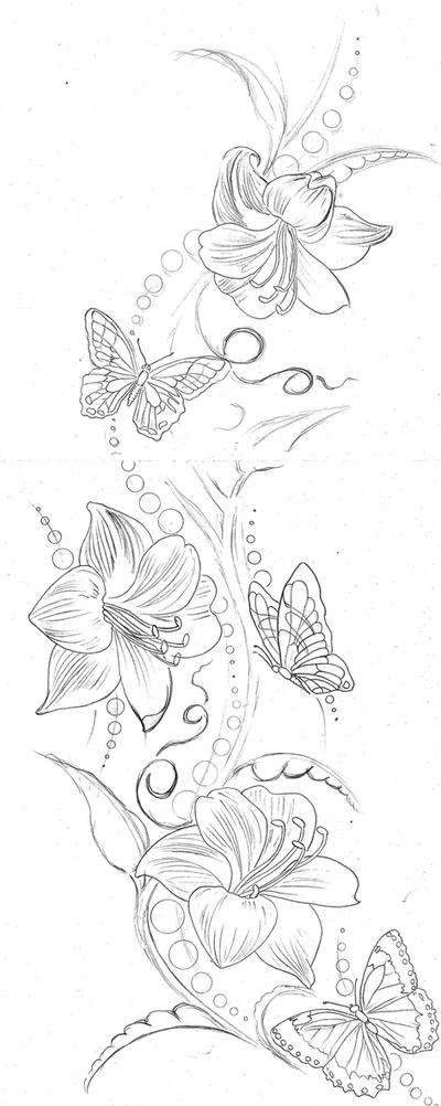 Lily Butterflies Backpiece | Flower Tattoo