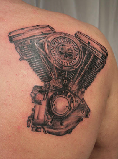 Harley engine Tattoo by 2Face-Tattoo