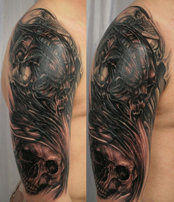 Cover Tribal Skull by 2Face-Tattoo