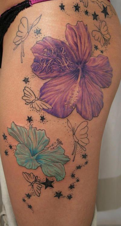 2 flower stars butterflies tat by 2face tattoo on deviantart for Star and flower tattoos