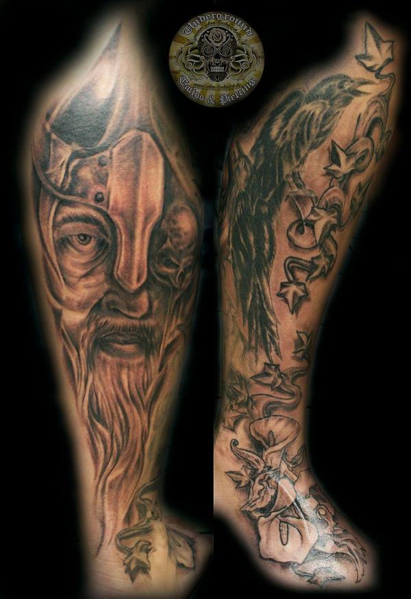 Viking raven flower by 2face tattoo on deviantart for Ravens face tattoos