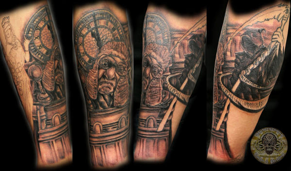 grandfather clock face tattoo. judge clock reaper 2 session by 2facetattoo on deviantart grandfather face tattoo