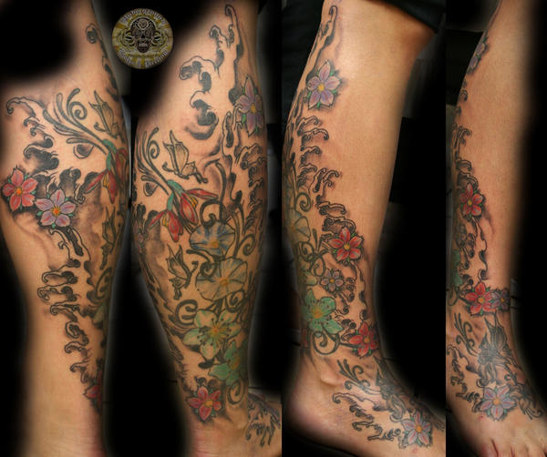Flower Butterfly start sleeve - flower tattoo