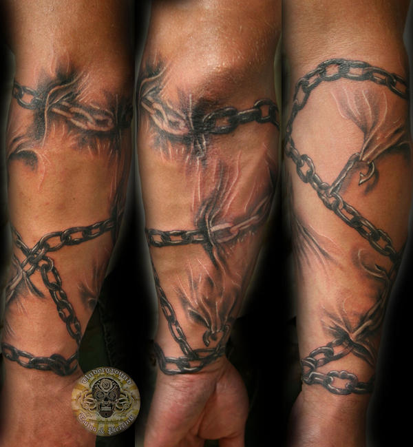 chains forearm sleeve tat by 2face tattoo on deviantart rh 2face tattoo deviantart com tattoos of chains broken tattoos of daisy chains