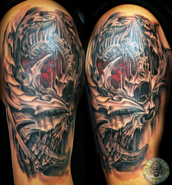 Biomech skull face by 2face tattoo on deviantart for Two faced tattoo