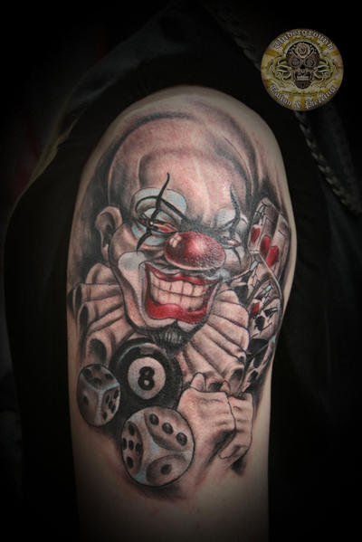 Chicano bad clown dices more by 2face tattoo on deviantart for Chicano clown girl tattoos