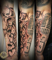 5 music drums note micro tat by 2Face-Tattoo