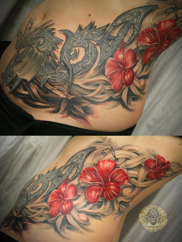 Dragon Tattoo With Flowers: Celtic Dragon Flowers Tat By 2Face-Tattoo On DeviantArt
