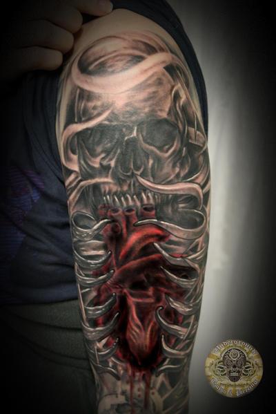 Heart Skull Armsleeve prog.13 by 2Face-Tattoo