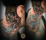 Crazy Skull behind the ear tat