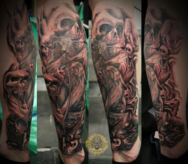 Step2 baphomet skull leg tat by 2face tattoo on deviantart for Skull leg tattoos