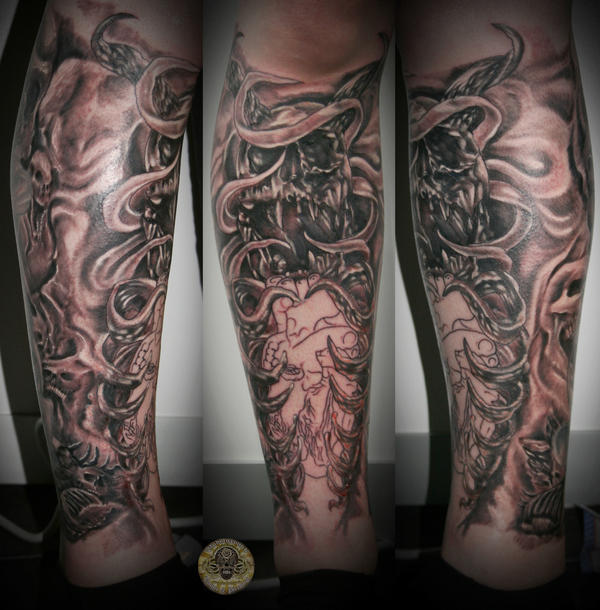 Front leg tattoos for Skull leg tattoos