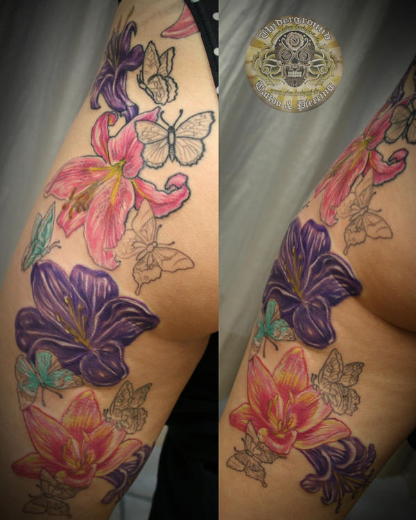 Flower Butterfly legsleeve - flower tattoo