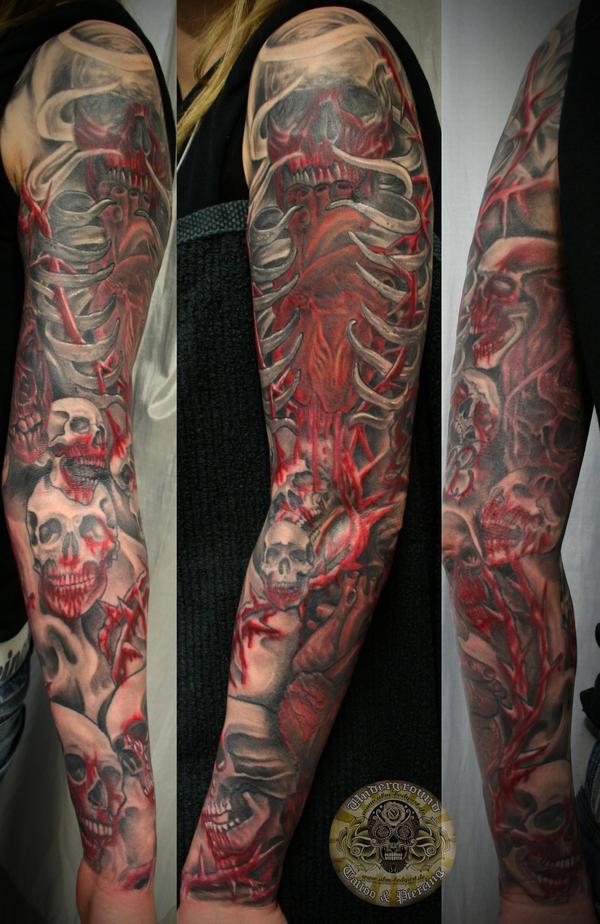 Heart Skull Armsleeve prog. 15 by 2Face-Tattoo