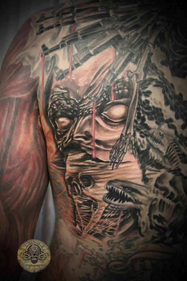 Skull Drama Face Tattoo: Back Skull Gun Demon Face 2 By 2Face-Tattoo On DeviantArt