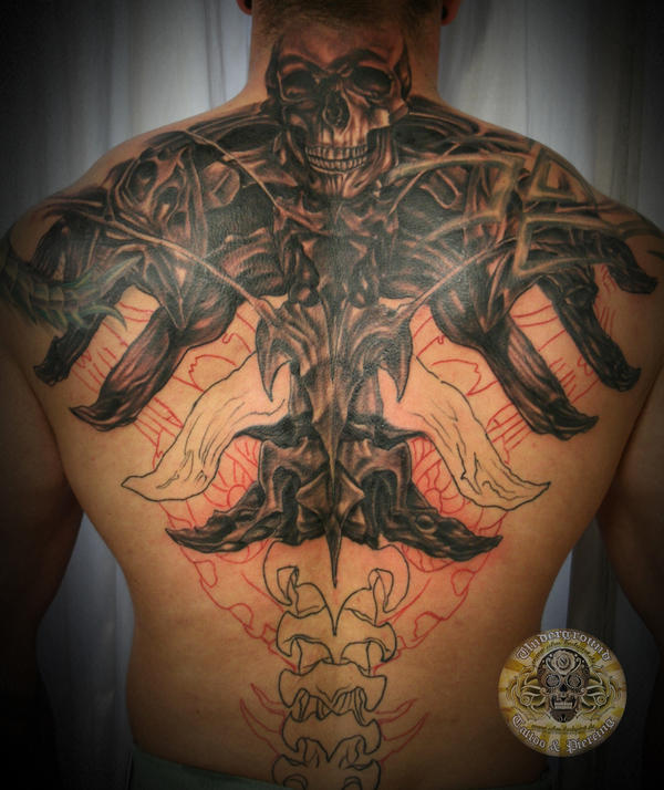2 biomech skull face tattoo by 2face tattoo on deviantart for Two faced tattoo