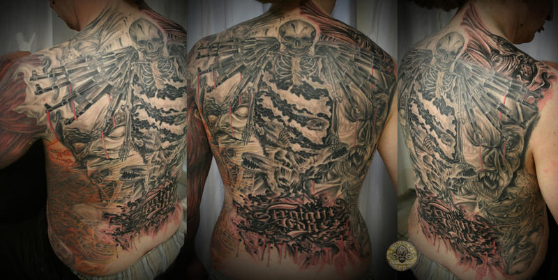 Skull gun demon face Horror 2 by 2Face-Tattoo