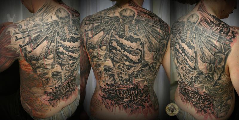 Skull gun demon face Horror 2 by 2Face-Tattoo