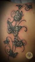 Butterflies swirls tatttoo by 2Face-Tattoo