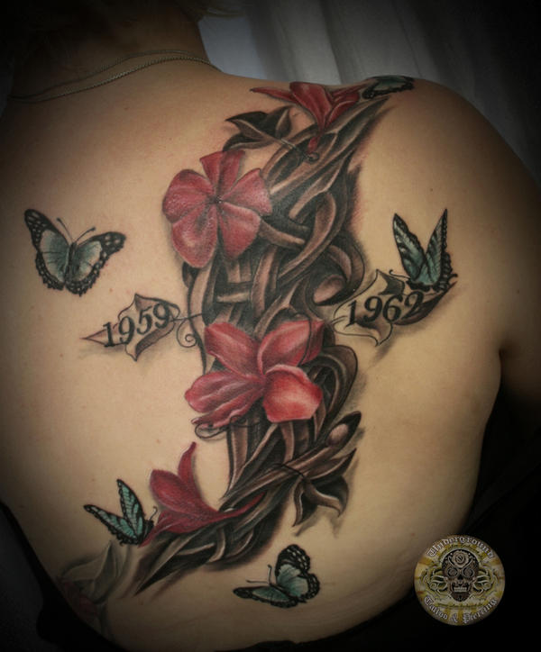 flowers butterflies tribal tat by 2Face-Tattoo