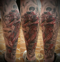 Baphomet skull leg final by 2Face-Tattoo