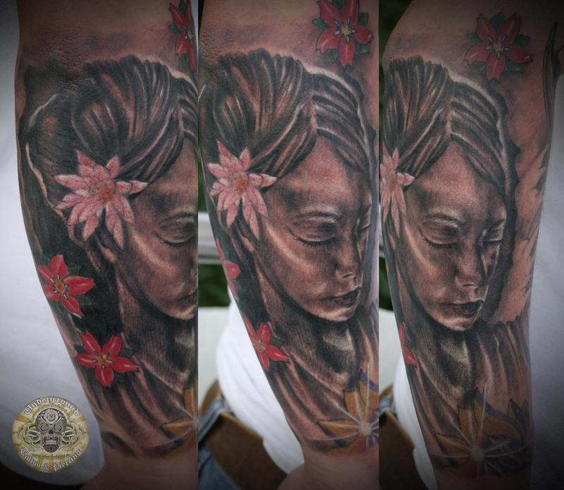 lotus tattoos Geisha Portrait Lotus tattoo