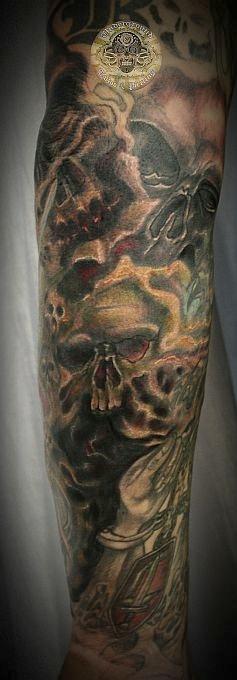 Graveyard tattoo half sleeve grim reaper half sleeve tattoo - Forearm Skull Tattoos Images Amp Pictures Becuo