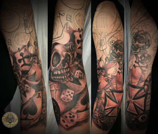 New School Armsleeve Tattoo by 2Face-Tattoo