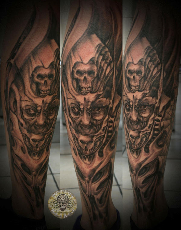 Demon face horror tattoo