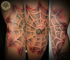 Bloody spider web tattoo by 2Face-Tattoo