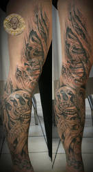biomech freehand sleeve fin by 2Face-Tattoo