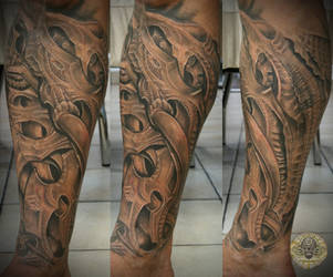biomech freehand sleeve fin1 by 2Face-Tattoo