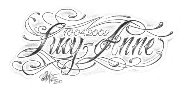 Chicano Lettering Lucy Anne By 2Face Tattoo