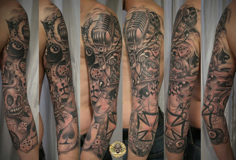 Sleeve Micro Music Skull cards by 2Face-Tattoo