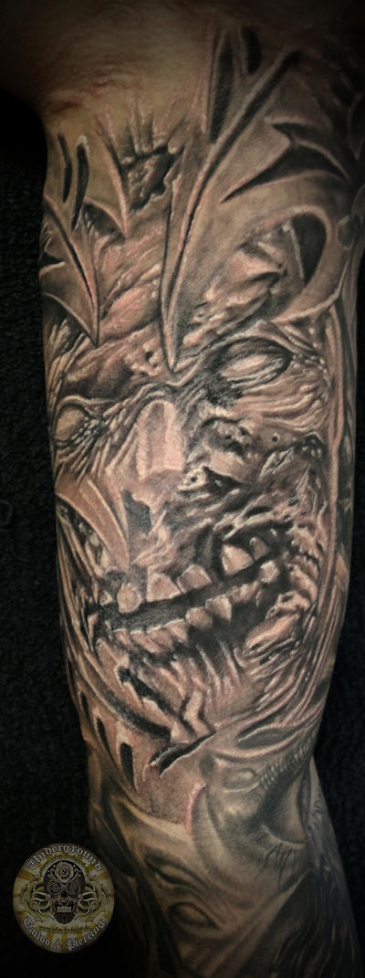 Horror zombie demon face final by 2face tattoo on deviantart for Evil faces tattoos