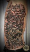 Horror demon skull ribsleeve by 2Face-Tattoo
