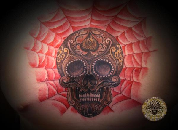 Sugar skull spiderweb tat by 2Face-Tattoo